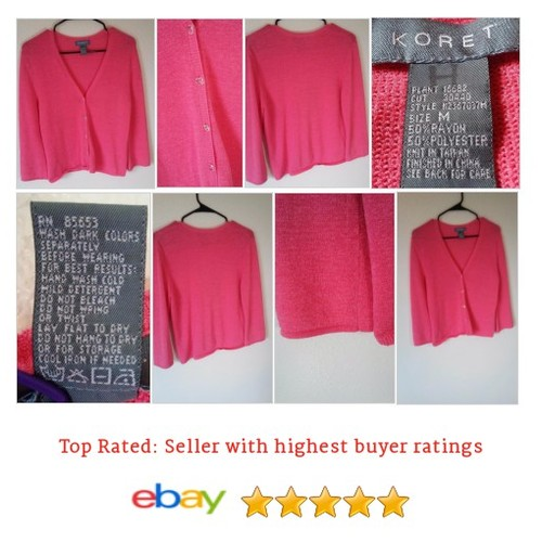 #Koret #Cardigan Women's Size Medium Pink V-Neck Cardigan Crystal Buttons Salmon | eBay #Sweater #etsy #PromoteEbay #PictureVideo @SharePicVideo