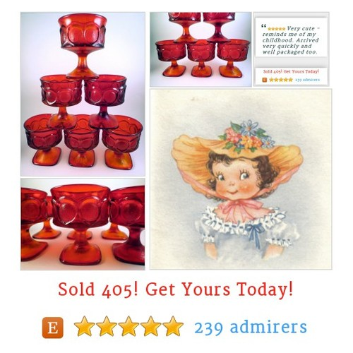 6 Vtg NORITAKE Stem Ware Red Glass SPOTLIGHT Sherbet Dessert Champagne #Home #Living #Dining #etsy #PromoteEtsy #PictureVideo @SharePicVideo