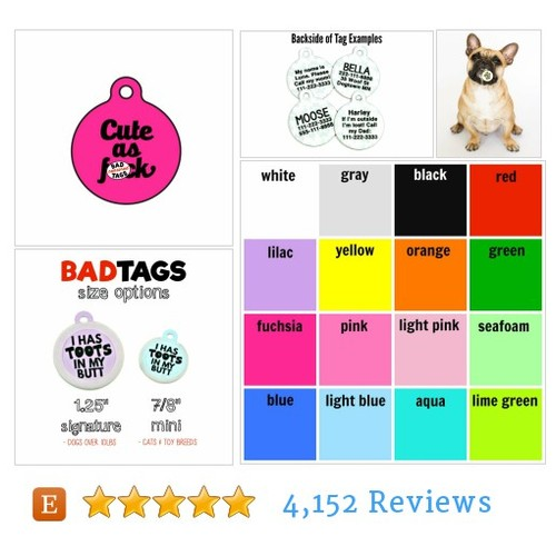 "Funny Double Sided Dog ID Tag ""Cute As #etsy @buybadtags  #etsy #PromoteEtsy #PictureVideo @SharePicVideo"