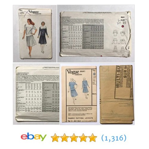 Vogue 8641 Skirt & Top Sewing Pattern Sizes 6-8-10 Uncut #etsy #PromoteEbay #PictureVideo @SharePicVideo