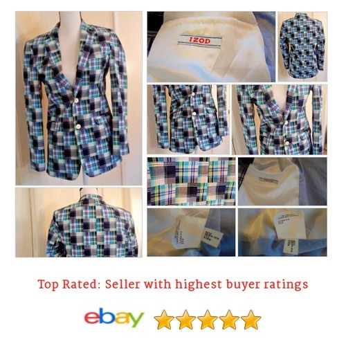 Izod #Blazer Women's Size S Spring Plaid Multi-Color Cotton Casual Vacation Fun | eBay #IZOD #Suit #etsy #PromoteEbay #PictureVideo @SharePicVideo