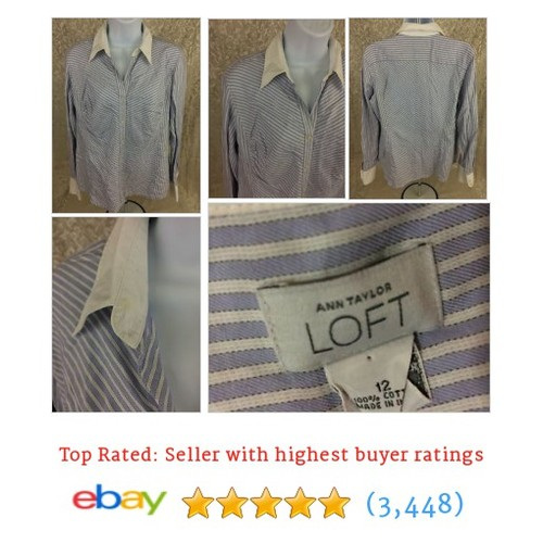 Ann Taylor LOFT Womens 12 Purple White Stiped Long Sleeve Career Work #ebay @thriftylivin1  #etsy #PromoteEbay #PictureVideo @SharePicVideo