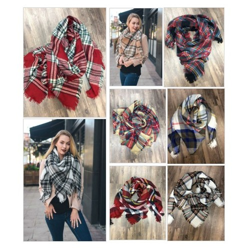 Cozy Knit Fringed Plaid Blanket Scarf @boutique_20 #shopify  #socialselling #PromoteStore #PictureVideo @SharePicVideo