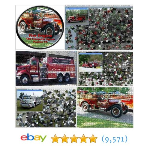 Fire Engine Computer JigSaw Puzzles 100 print save CD #ebay @candyw  #etsy #PromoteEbay #PictureVideo @SharePicVideo