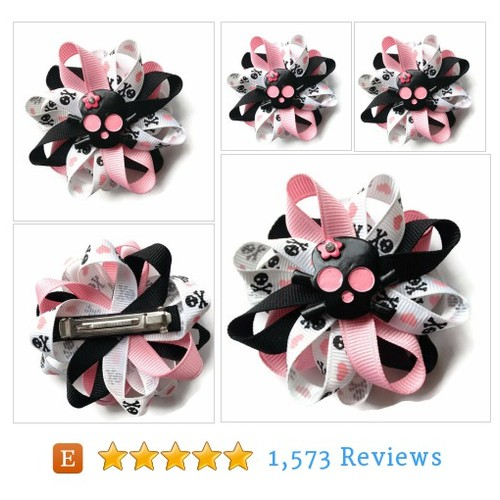 Black, Pink Skull Hair Bow - 3 inch Hair #etsy @cupcakesclips  #etsy #PromoteEtsy #PictureVideo @SharePicVideo