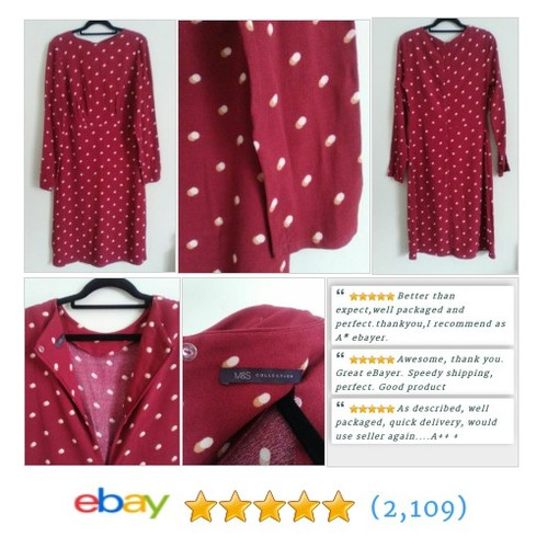 M&S Ladies Burgundy Spotted Spring/Summer DRESS  @chelleb09 #ebay https://SharePicVideo.com?ref=PostVideoToTwitter-chelleb09 #etsy #PromoteEbay #PictureVideo @SharePicVideo