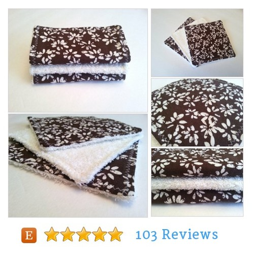 Brown and Cream Floral Dish Rags / 6 inch #etsy @_recurringdream  #etsy #PromoteEtsy #PictureVideo @SharePicVideo