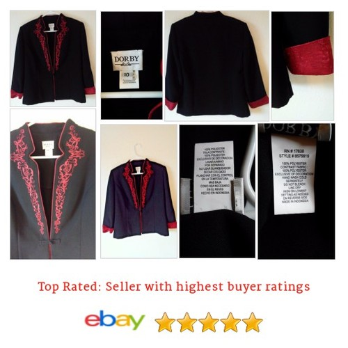 Miss Dorby Women's #Blazer Black with Red Asian Design Size 10 Medium | eBay #Suit #MissDorby #etsy #PromoteEbay #PictureVideo @SharePicVideo