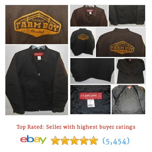 Farm Boy Brown Full Zip Quilted Lightweight Jacket Men's @vintage_for_us   #ebay  #etsy #PromoteEbay #PictureVideo @SharePicVideo