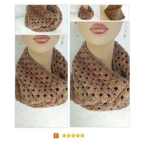 Cowl Infinity #Scarf Crocheted Brown #Wrap #Accessory www.softtotouch.info #etsy #PromoteEtsy #PictureVideo @SharePicVideo