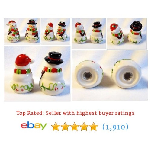 Salt and Pepper Shakers Snowman and Snow Lady Christmas Ceramic #ebay @misskaties102  #etsy #PromoteEbay #PictureVideo @SharePicVideo
