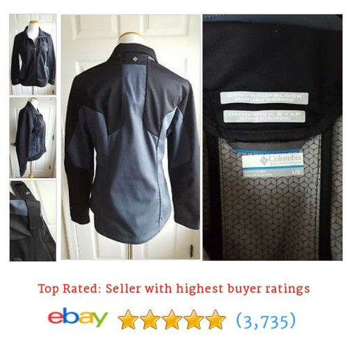 Columbia Women's Size L Gray Black OMNI-TECH WIND BLOCK EVAP #ebay @theslw  #etsy #PromoteEbay #PictureVideo @SharePicVideo