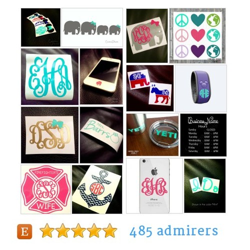 Monogram Decals, Stickers, Gifts by @CarolinaDecals Etsy shop  #etsy #PromoteEtsy #PictureVideo @SharePicVideo