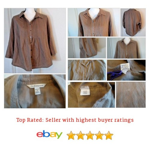 #Croft & Barrow Blouse Button Peasant Boho Hippy Size XL Brown Linen Blend Cotton | eBay #Top #Barrow #etsy #PromoteEbay #PictureVideo @SharePicVideo