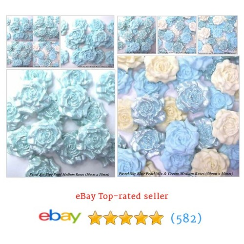 12 Pastel Baby Blue Pearl White Mix Sugar Roses wedding cake #ebay @purplebcakes  #etsy #PromoteEbay #PictureVideo @SharePicVideo