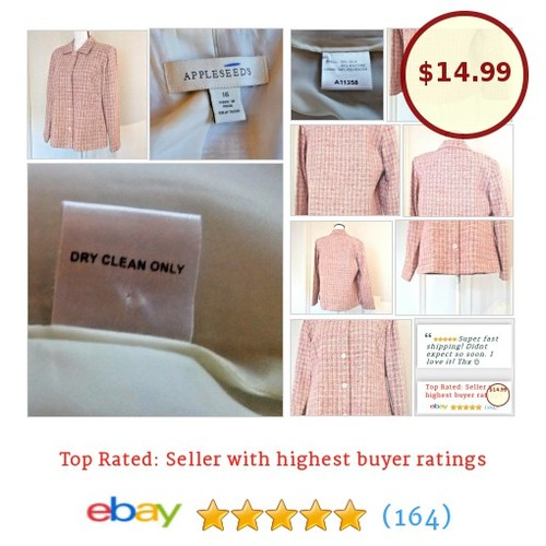 Appleseed's Womens Blazer Size 16 Pink Tweed Silk Blend Spring Plus Size #Suit | eBay #Blazer #Appleseed #etsy #PromoteEbay #PictureVideo @SharePicVideo