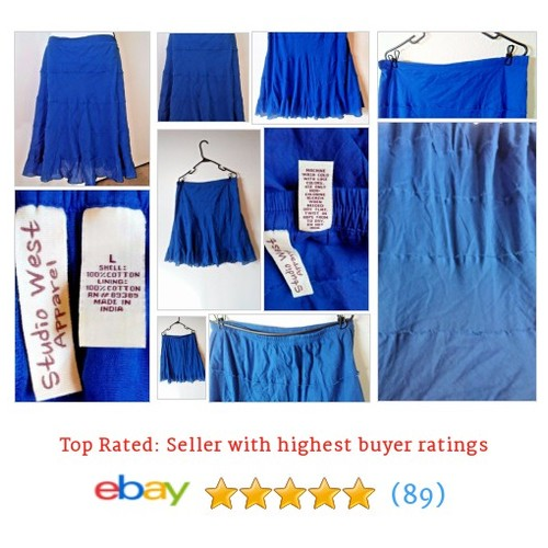 Studio West Skirt Hippy #Boho Blue Tiered Below Knee Made in India | eBay #Skirt #Peasant #etsy #PromoteEbay #PictureVideo @SharePicVideo