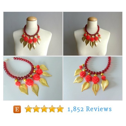 Red flowers statement #necklace bib #etsy @redmossinc  #etsy #PromoteEtsy #PictureVideo @SharePicVideo