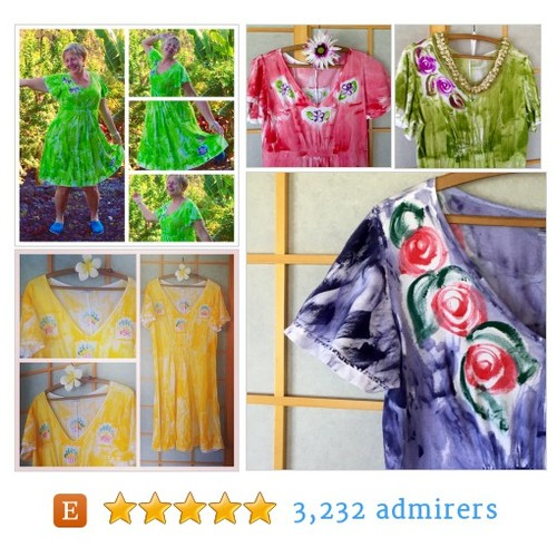 Hand Painted Hawaii Empire Waist Dress #shopsmall #integritytt #epiconetsy @DNR_CREW @Retweet_Lobby @EtsyRT @EarthRT #etsy #PromoteEtsy #PictureVideo @SharePicVideo