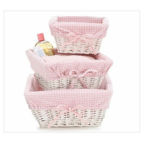Set of 3 Baby Girl Nursery Storage Baskets - White Willow with Pink Cotton Gingham Fabric #socialselling #PromoteStore #PictureVideo @SharePicVideo