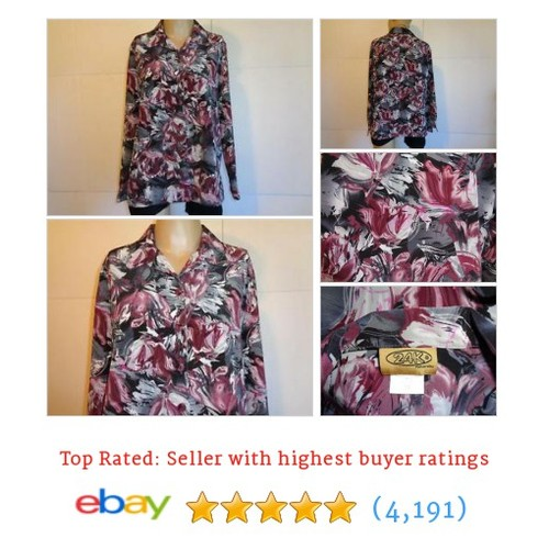 24K Shirt Blouse Size 10 Watercolor Floral Button Front Long Sleeves #ebay @goldiepac2000  #etsy #PromoteEbay #PictureVideo @SharePicVideo
