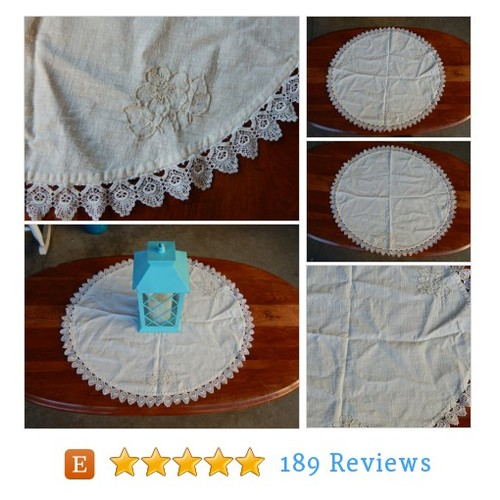 Linen Doily Large Oval Table Runner Lace #etsy @eevintage  #etsy #PromoteEtsy #PictureVideo @SharePicVideo