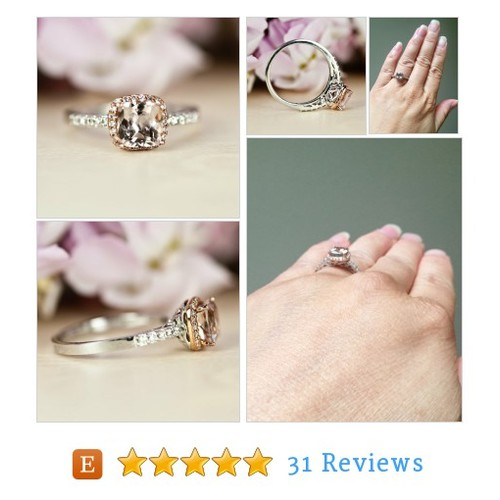 Morganite halo Engagement Ring, Two Tone, #etsy @fngdesign https://www.SharePicVideo.com/?ref=PostPicVideoToTwitter-fngdesign #etsy #PromoteEtsy #PictureVideo @SharePicVideo