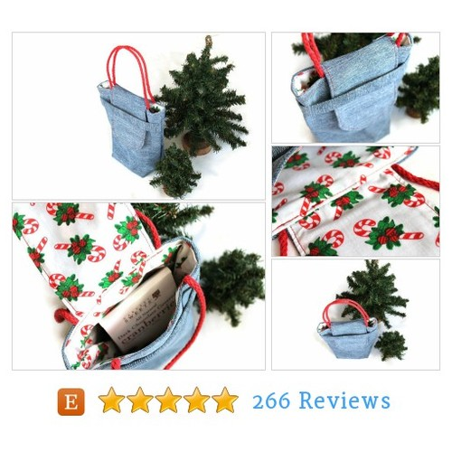 Christmas Gift Bag Reusable Small Denim #etsy @handiworking  #etsy #PromoteEtsy #PictureVideo @SharePicVideo