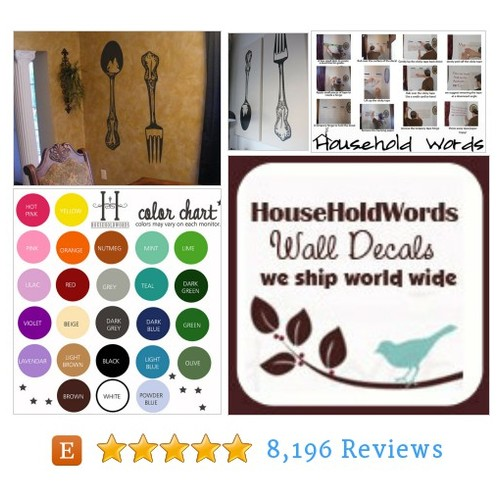 Fork and Spoon wall decor vinyl decals - #etsy @hhwords  #etsy #PromoteEtsy #PictureVideo @SharePicVideo