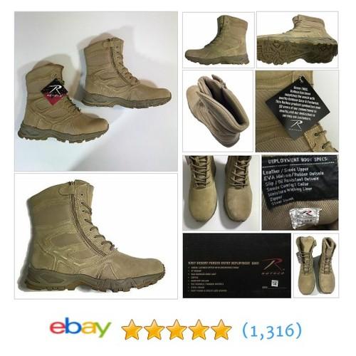 "Rothco 8"" Desert Tan Forced Entry Military Airsoft Deployment Zipper Boot 13R  