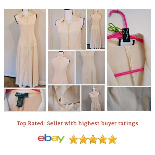 Lauren Ralph Lauren #Dress Size 4 Ivory Long Sleeveless 100% Silk Vintage RARE | eBay #Sheath #LaurenRalphLauren #etsy #PromoteEbay #PictureVideo @SharePicVideo