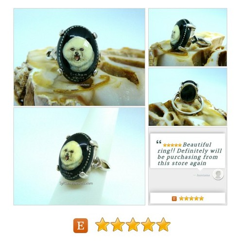#BichonFriseDog #Cameo #Ring #HandPainted #SterlingSilver #OriginalArt #FineJewelry #SylCameoJewelsStore #Jewelry #StatementRing #etsyspecialt @etsyRT #socialmedia  #etsy #PromoteEtsy #PictureVideo @SharePicVideo
