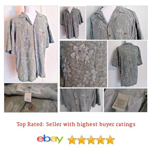 Island Shores Jacquard #Hawaiian Shirt 100% Silk L Large Green Short Sleeve | eBay #IslandShore #CasualShirt #etsy #PromoteEbay #PictureVideo @SharePicVideo