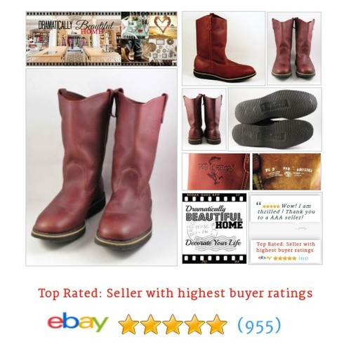Fin and Fur Boots Mens Brown Leather Size 9.5 USA Wellington 11"