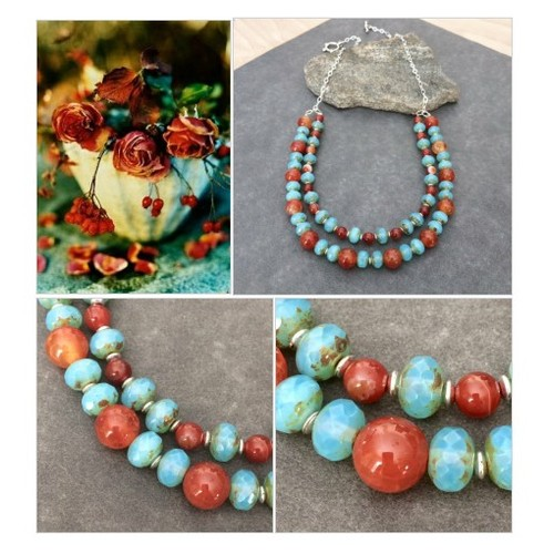Bold Multi Strand Bead Necklace Gemstone Czech Glass Bead Statement Necklace Double Strand Necklace Red Agate Southwest Style Necklace Gift #etsyspecialt #integritytt #SpecialTGIF #Specialtoo  #SpecialTParty      @CoDWWIIScrims @FallingFearsRT #etsy #PromoteEtsy #PictureVideo @SharePicVideo