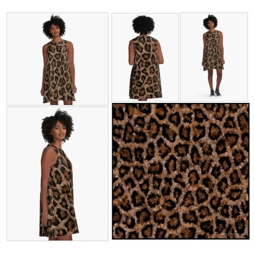'Brown Cheetah Print ' A-Line Dress by Amy Anderson #socialselling #PromoteStore #PictureVideo @SharePicVideo