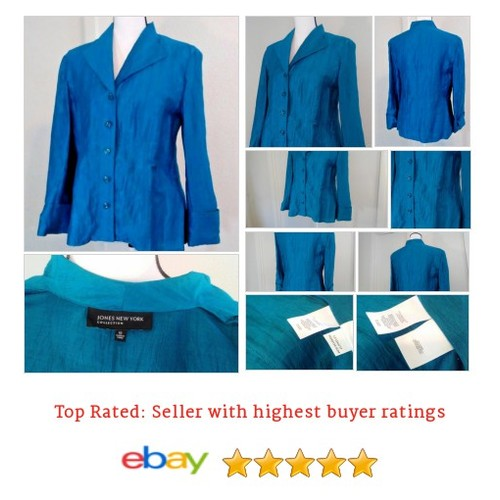 Jones New York Women's BLouse Size 10 Medium BLue Linen Blend Crinkle Fabric Fun | eBay #Top #Blouse #JonesNewYork #etsy #PromoteEbay #PictureVideo @SharePicVideo