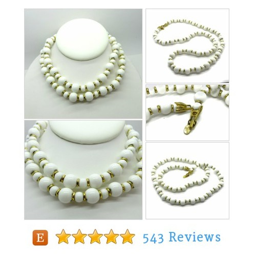 Vintage Alice Caviness White and Gold Bead #etsy @leesvintage  #etsy #PromoteEtsy #PictureVideo @SharePicVideo