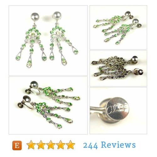 Peridot Green Rhinestone Dangle Earrings #etsy @thefashionden1  #etsy #PromoteEtsy #PictureVideo @SharePicVideo