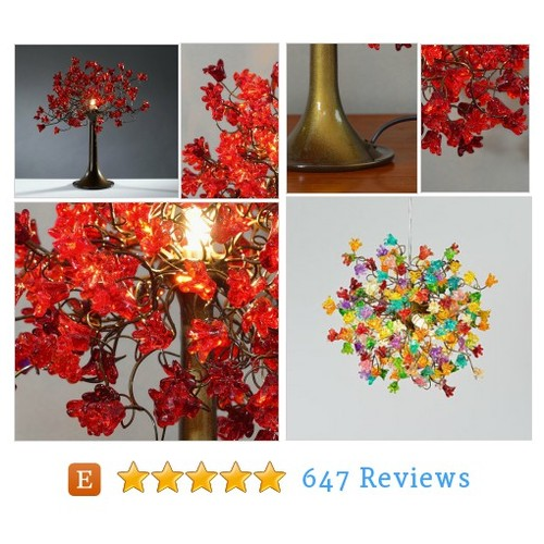 Table lamp with Red jumping flowers, flower #etsy @yudaozan  #etsy #PromoteEtsy #PictureVideo @SharePicVideo