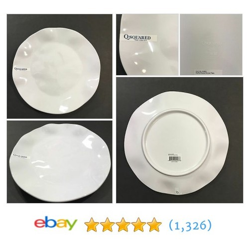 "Qsquared White Hi Gloss Ruffle Collection 10.5"" Diameter Round Dinner Plate  