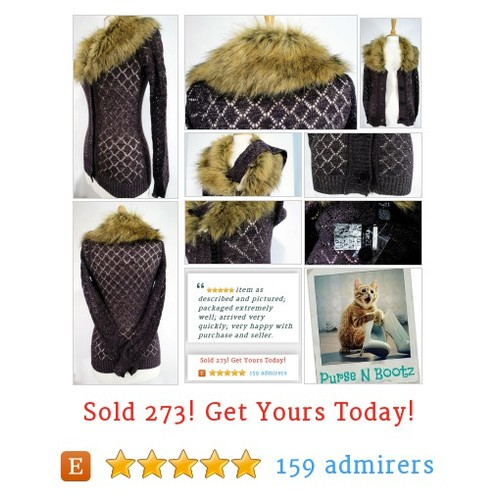 Brown Open Knit Cardigan #Sweater Size 8 Faux Fur  Collar Gold Metallic Threads Tags New #Clothing #WomensClothing #etsy #PromoteEtsy #PictureVideo @SharePicVideo