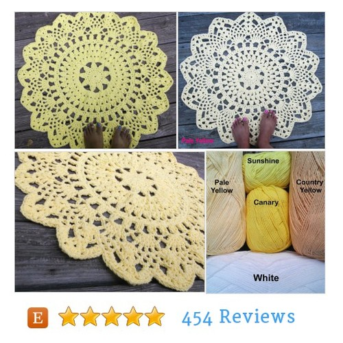 "Yellow Cotton Crochet Doily Rug in 30"" #etsy #PromoteEtsy #PictureVideo @SharePicVideo"