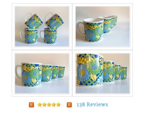 Flower Power Set of 4 Cups - Blue Green - MOD -60s 70s Hippie Retro Porcelain #Cup #Vintage  #etsy #PromoteEtsy #PictureVideo @SharePicVideo