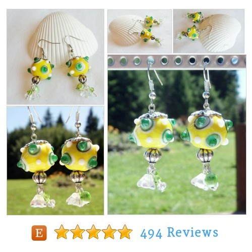 Yellow and green lampwork bead earrings #etsy @charsfavorite  #etsy #PromoteEtsy #PictureVideo @SharePicVideo