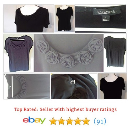 Notations Women's #Blouse Size Large Black with Flower Applique Short Sleeve | eBay #Top #Notation #etsy #PromoteEbay #PictureVideo @SharePicVideo