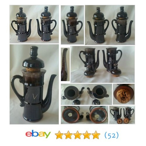Tilso Hand Painted Brown Drip Oil and Vinegar Cruets Japan #ebay @smadison19  #etsy #PromoteEbay #PictureVideo @SharePicVideo