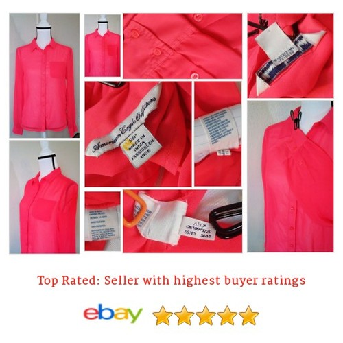 American Eagle Outfitters #Blouse Size Small Bright Pink Orange Button | eBay #Top #WomensClothing #etsy #PromoteEbay #PictureVideo @SharePicVideo