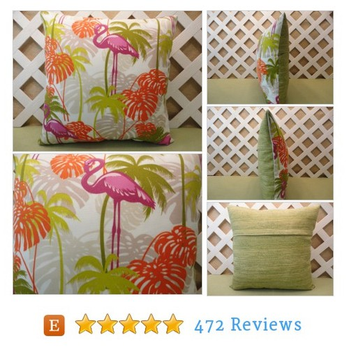 Pink Flamingos and Palms Outdoor Pillow #etsy @jrspillows  #etsy #PromoteEtsy #PictureVideo @SharePicVideo