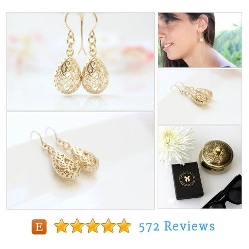 Gold Earrings | Gold filigree drop earrings #etsy #PromoteEtsy #PictureVideo @SharePicVideo